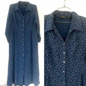 Vintage blue floral maxi dress boho prairie style